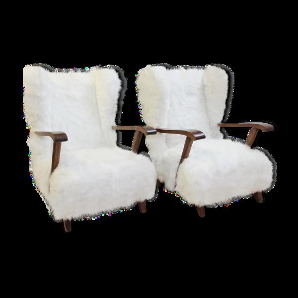 Paire de fauteuils en fausse fourrure