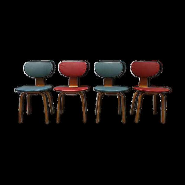 Selency Ensemble de 4 chaises modèle SB02 de Cees Braakman pour Pastoe