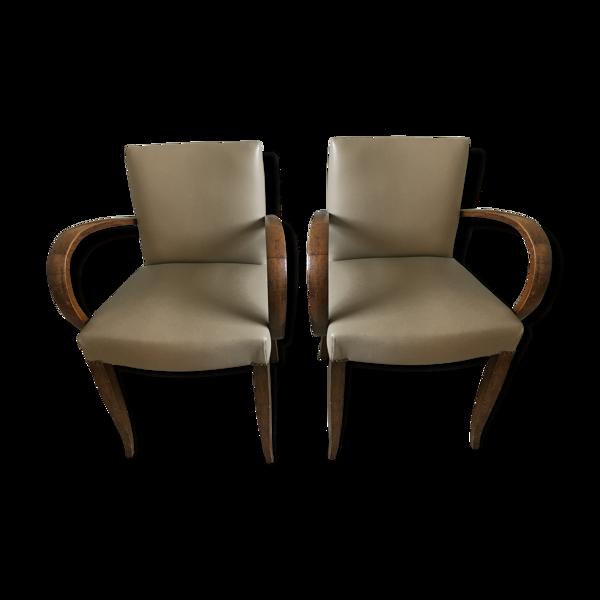 Paire de fauteuils bridge années 30 en cuir véritable
