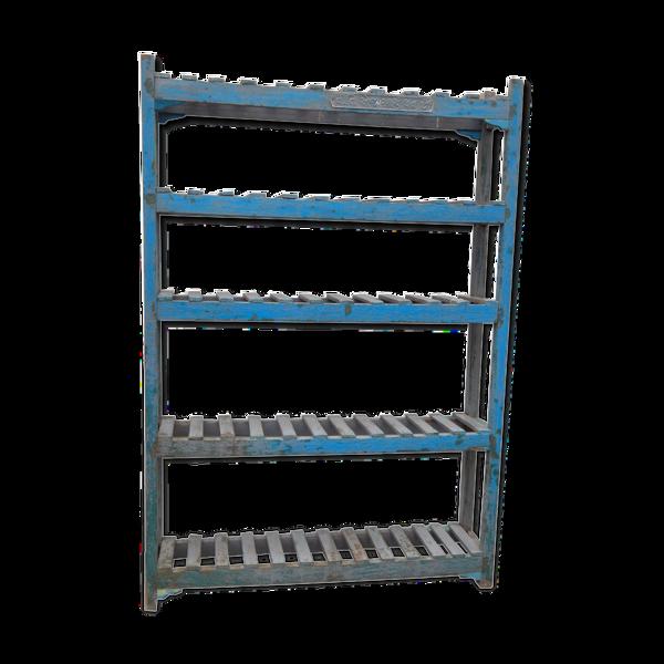 Selency Etagère bleue meuble haut étroit 5 tablettes teck piece d'origine