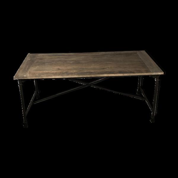 Table d'atelier en fer et plateau bois ancien