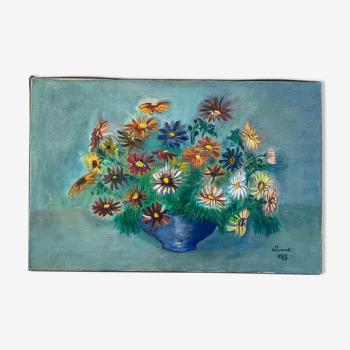 Tableau bouquet de fleurs vintage