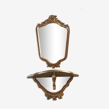 Ensemble miroir et console style Louis XV en bois doré