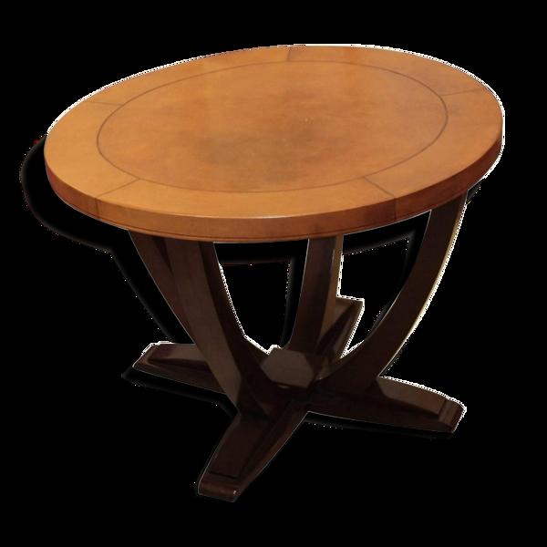Table art déco en palissandre et cuir France vers 1930