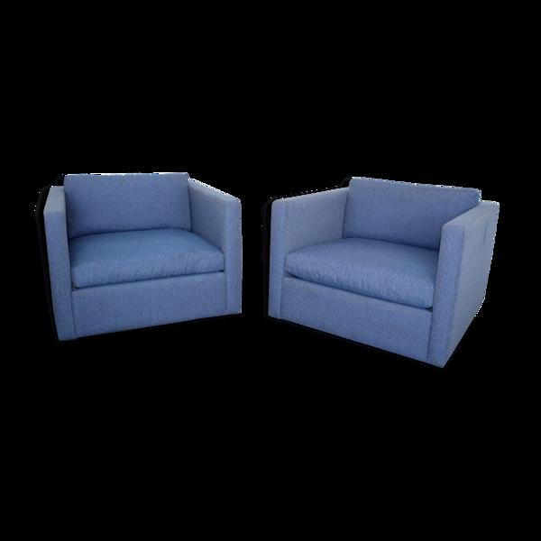 Selency Paire de fauteuils bleus edition Knoll design Charles Pfister