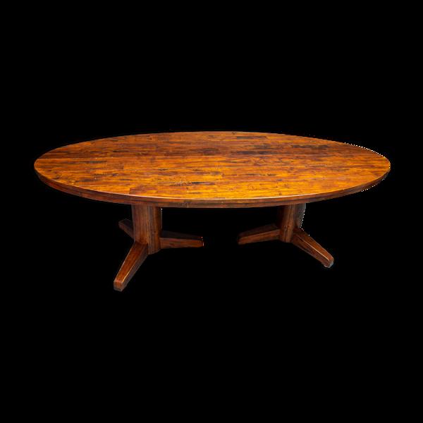 Table à manger vintage ovale avec double base