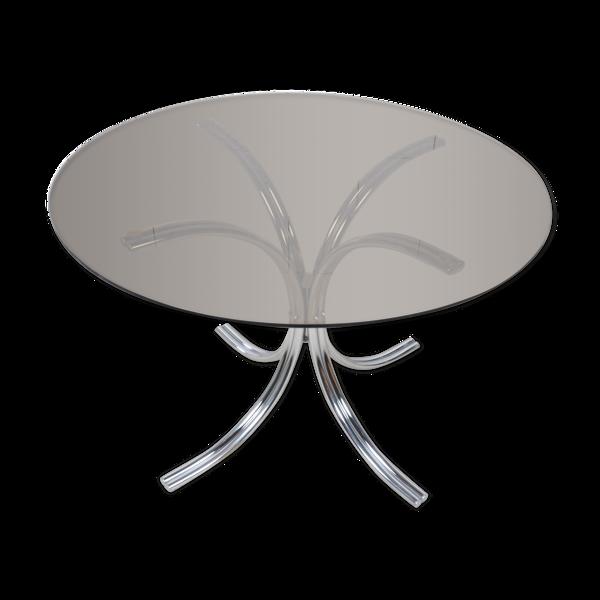 Table ronde en verre pieds chromés
