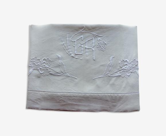Drap ancien en lin blanc cassé brodé du monogramme GR et d'iris-197x290cm