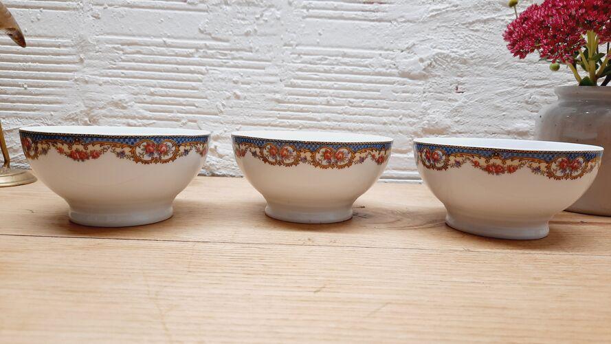 Trio bols porcelaine guirlande de fleurs