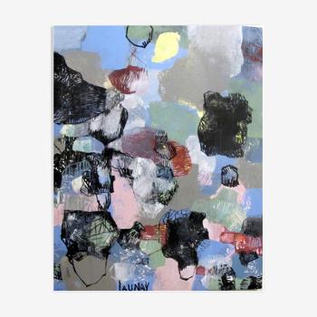 Toile peinture acrylique theme graphite et pastel