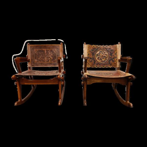 Lot de 2 rocking chairs Angel Pazmino en cuir et bois - années 1960