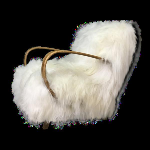 Fauteuil en peau de mouton blanc Halabala