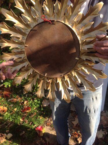 Miroir soleil en métal année 1970 66cm