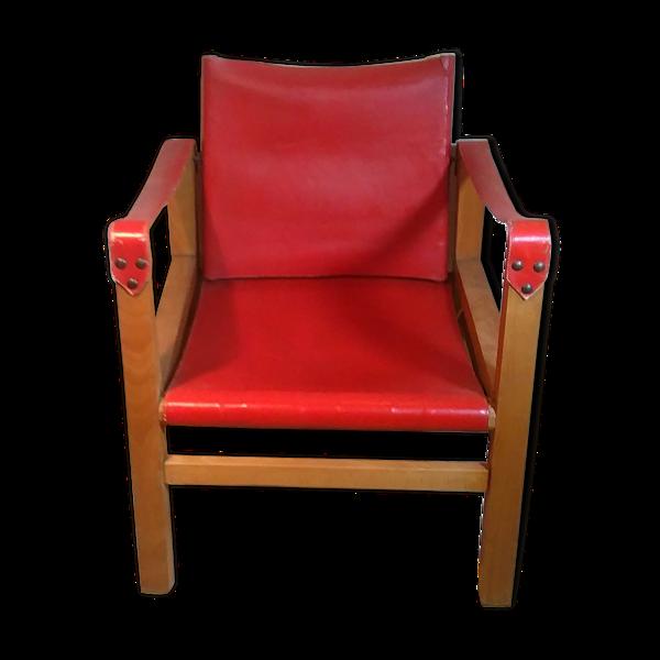 Chauffeuse bois et cuir rouge années 60