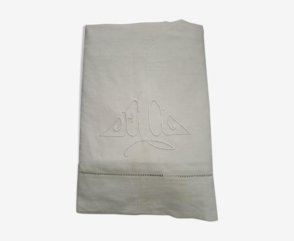 Drap ancien brodé monogramme EC drap métis 300 x 200 cm Art déco