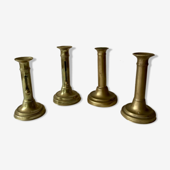 Lot of 4 old candlesticks