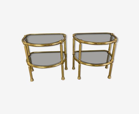 Tables de chevet mid-century en verre fumé et en laiton, italie, années 1960s