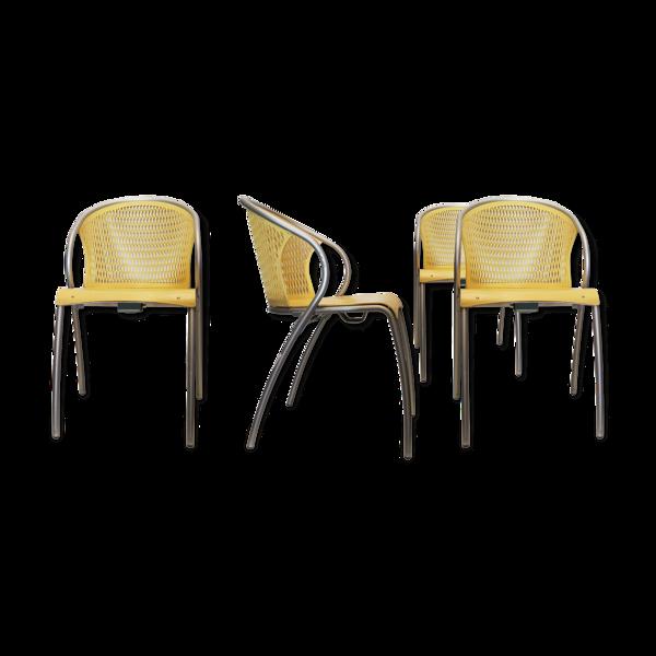 Selency Lot de 4 fauteuils asia origlia - jaune