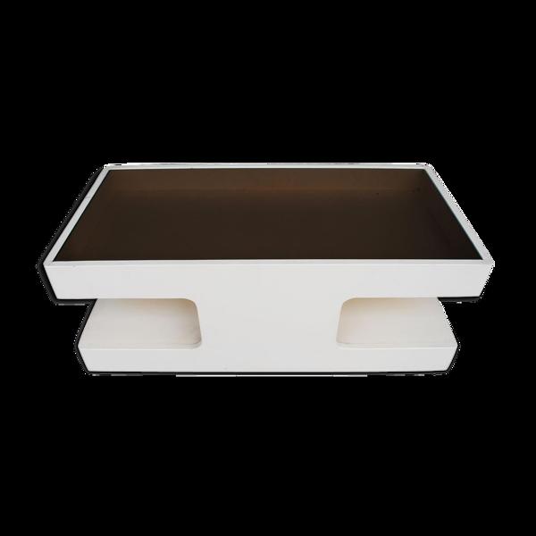 Selency Table basse design en 1970 en bois laqué et vitre fumée