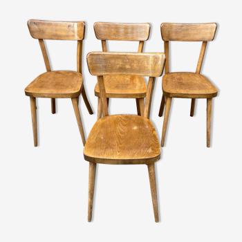 4 Chaises bistrot vintage bois courbé 1960s