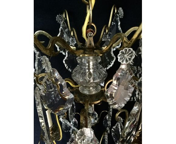 Lustre cage à 6 lumières en bronze et cristal