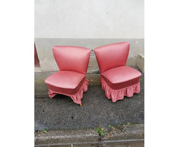 Pair of pink fabric cocktail armchairs