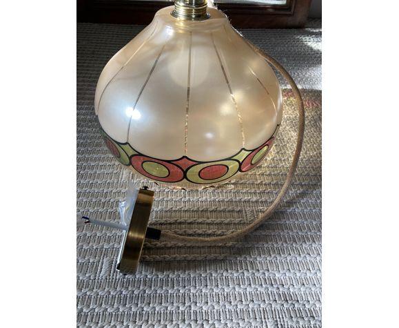 Suspension vintage en verre années 70