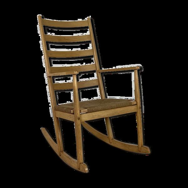 Selency Rocking-chair en hêtre et corde du milieu du siècle