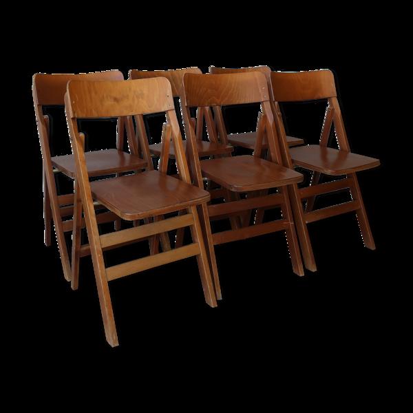 Lot de 6 chaises pliantes scandinaves 1960