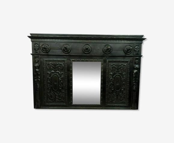 Miroir Renaissance de corridor de château en poirier noirci vers 1850