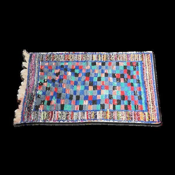 Tapis boucharouite bleu damier 117x200