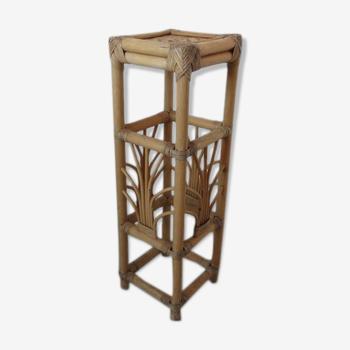 Porte plante en rotin bambou années 60 70