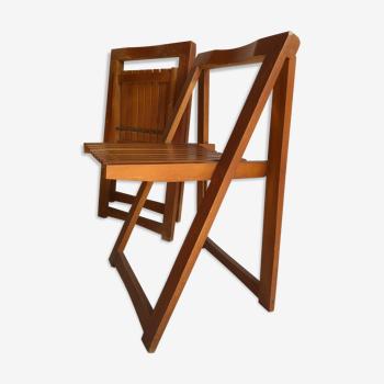 Paire de chaises pliantes en hêtre