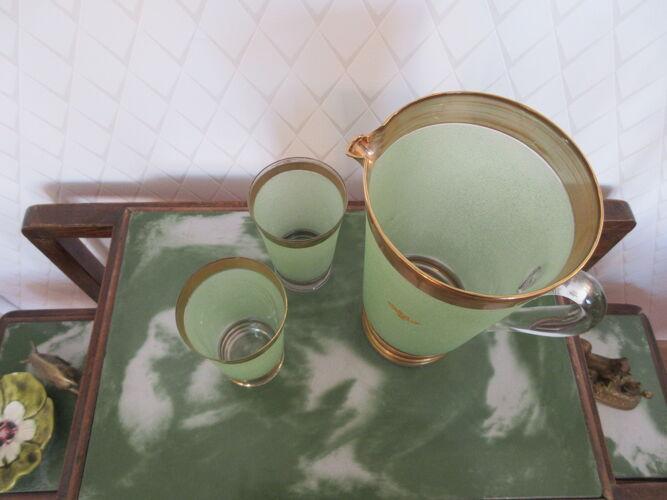 Cruche pichet  en verre granité vert Schneider France
