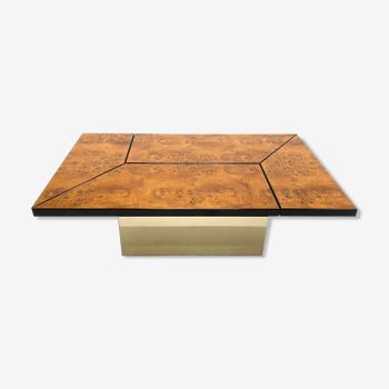 Table basse loupe d'orme Paul Michel 1970