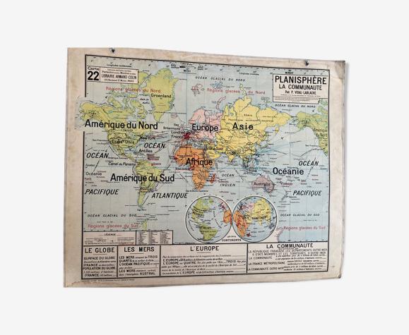 Carte scolaire vidal lablache planisphère