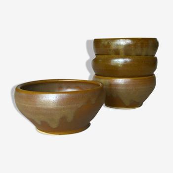 Quatre bols en grès doré Digoin