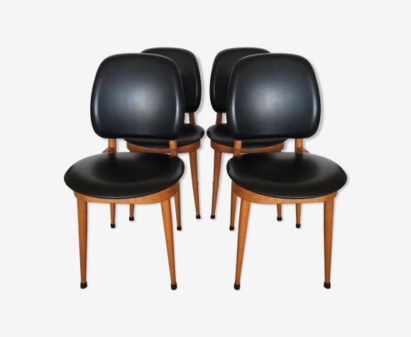 """Suite de 4 chaises modèle """"Pégase"""" de chez Baumann"""