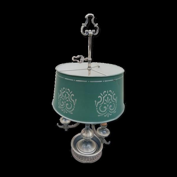 Lampe bouillotte 3 lumières métal argenté vieilli abat jour tôle ( 74cm )