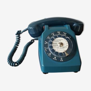 Ancien téléphone socotel s63 bleu vintage