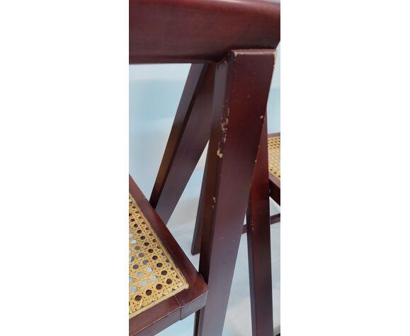 Chaises pliantes en hêtre et siège en grille, Espagne 1970