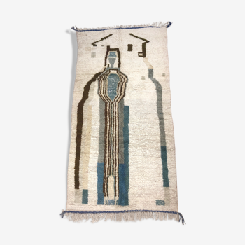 Tapis berbère marocain Azilal à motifs kaki et nuances de bleu et vert 2,52x1,29m