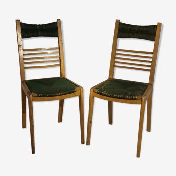 Paire de chaises vintage en bois et paille colorée