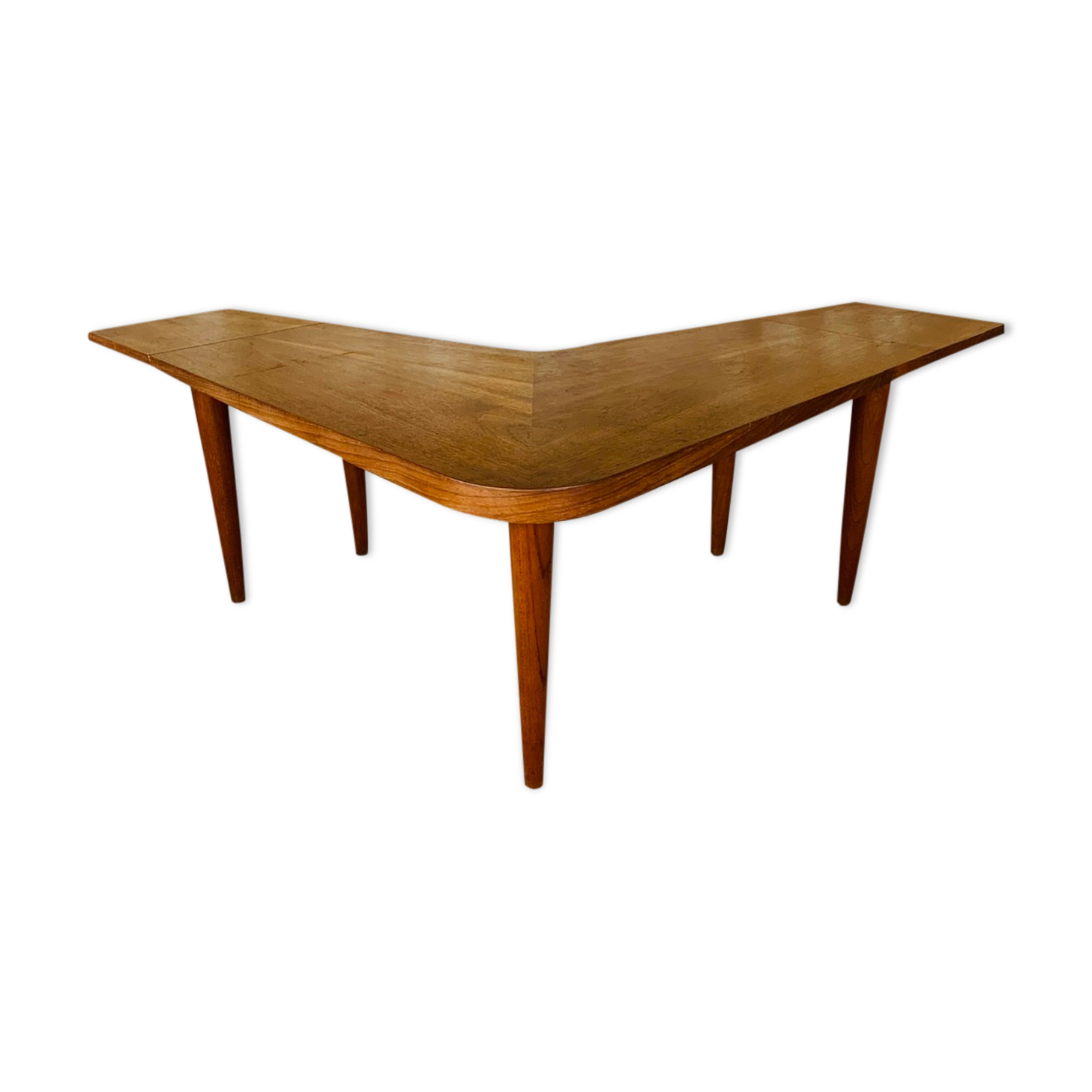 Table basse boomerang scandinave vintage avec allonges pliantes par Samcom, 1960