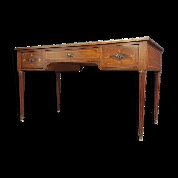 Selency Bureau Louis XVI en acajou et marqueterie de bois précieux vers 1850