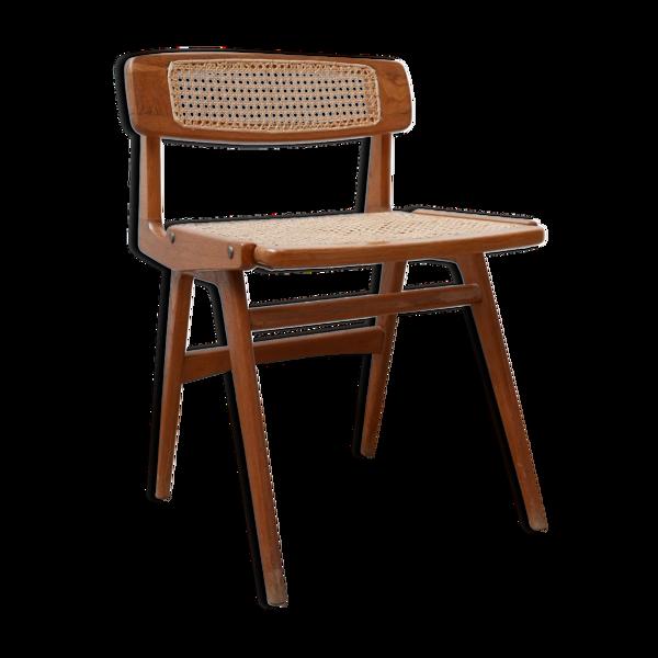 Selency Chaise de bureau en bois et cannage