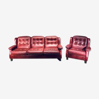 Canapé en cuir 3 siège et fauteuil Suède 1960
