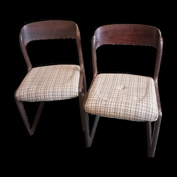 Paire de chaises traîneaux 1960