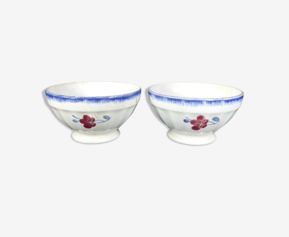 Paire de bols Digoin peint a la main décor de fleur