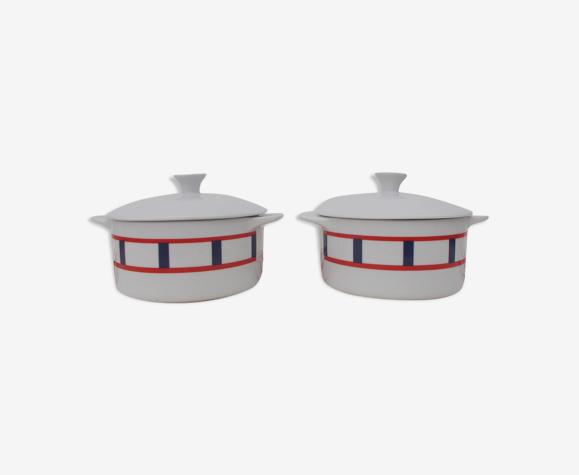 2 cassolettes basque bleu et rouge